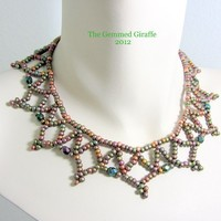 Iris Copper Net Necklace with Copper Clasp