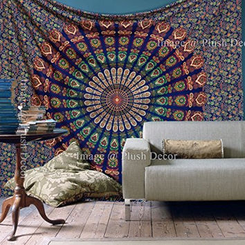 Plushdecor Mandala Tapestry Wall Tapestries Hippy Throw Cotton Handmade Bohemian Wall Hanging Psychedelic Bedsheet Queen Bedspread Wall Art Beach Throw Sheet