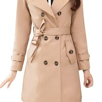 Womens Turn Down Collar Double-Breasted Long Trench Coat with Belt