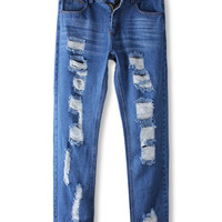 Blue Hole Denim Jeans * free shipping *