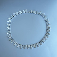Vintage Cleopatra Style Clear Rhinestone Necklace 50's Czech Mad Men Bridal Wedding Choker