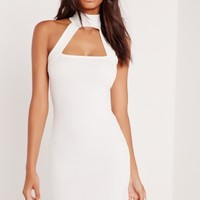 Missguided - Neck Band Ponte Bodycon Dress Ivory