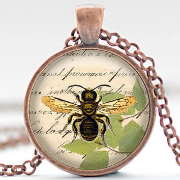 Bee Necklace, Altered Art Honeybee Pendant, Honey Bee Jewelry, Bee Charm (455)