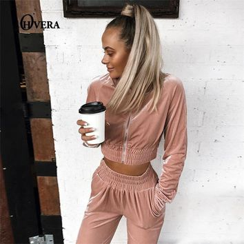 Ohvera Velvet Sets Casual Tracksuit 2017 New Autumn Women O Neck Sporting Suit Velvet Two Pieces Sets Women Sportswear