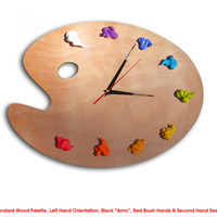 Artist Palette Clock, 3D Paint on Wood - Left or Right Handed - BRIGHTS - art studio decor, artist painter gift