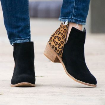 Black Leopard Suede Booties