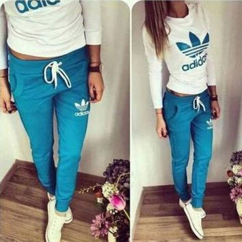 DCCK6HW Adidas' Fashion Casual Clover Letter Print Long Sleeve Set Two-Piece Sportswear