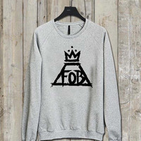 Fall Out Boy logo Music tee Ash Grey  Long Sleeve Crew Neck Pullover Sweatshirt