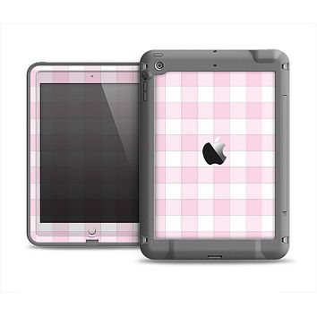The Light Pink and White Plaid Pattern Apple iPad Air LifeProof Fre Case Skin Set