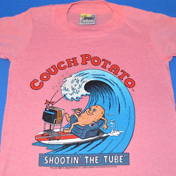 80s Couch potato Surfing Shootin' the Tube t-shirt Youth 5/6