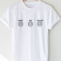 Happy Sad Excited Smiley Tee - White