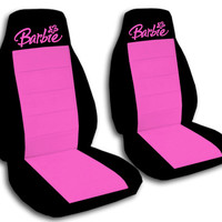 Custom embroidered Barbie car seat covers.