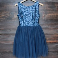 sugar plum dazzling navy sequin tulle darling party dress
