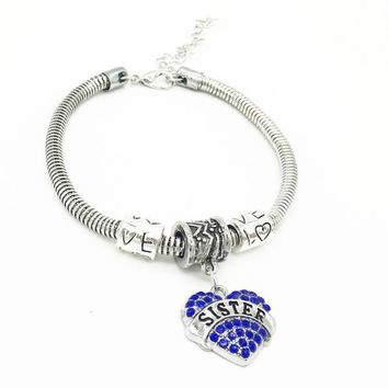Crystal Rhinestone Heart Sister Charm Bangle Bracelet Women Jewelry Gifts BU