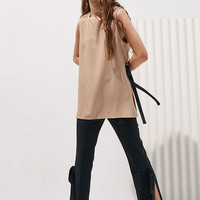 Long Sleeveless Blouse with Slits