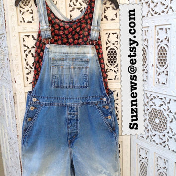 Bleached Jean Overalls Grunge Style Shortalls Dungarees Frayed Faded Dip Dyed Festival Size Medium Farmers Bib Jeans //Suznews Etsy//