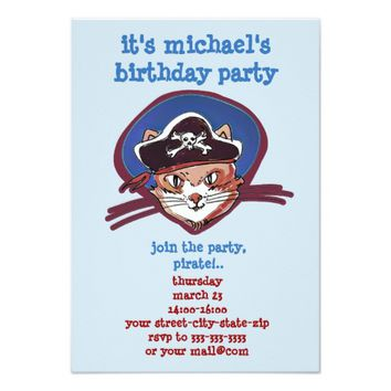 pirate cat cartoon style funny illustration card
