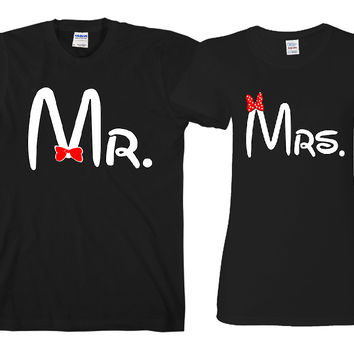 "Mr. Mrs Cartoon ""Cute Couples Matching T-shirts"""