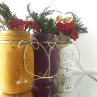 Home Decor, Hand Painted Mason Jars - Set of Three, Painted Jars | Rustic - Style Decor