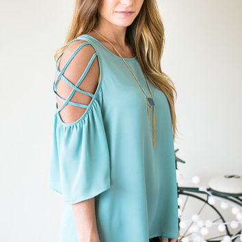 Saw It On Instagram Strappy Shoulder Top - Green