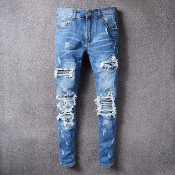 Mens Distressed Embellished Ribbed Stretch Pants