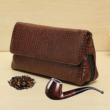 Leather Smoke Sack Smoking Pipe Case Savinelli Tobacco Bag Pipes Pouch Tamper Filter Tool Cleaner Briefcase Brown