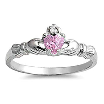 Sterling Silver .50 ct. Petite Pink Topaz CZ Claddagh Ring Size 1-9