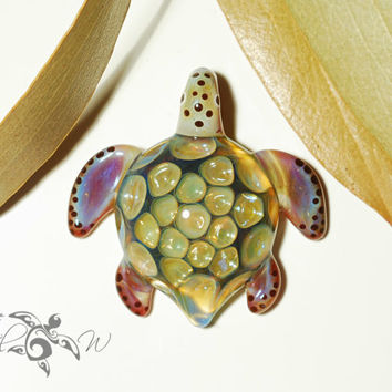 Iridescent Shimmer Honeycomb Turtle Pendant - Glass Pendant - Glass Jewelry - Turtle Necklace - Glass Art - Focal Bead - Artist Signed