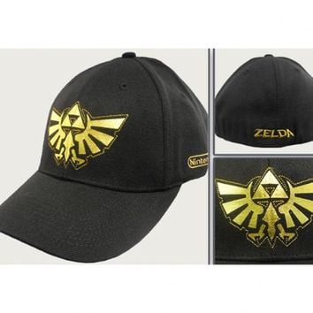 Nintendo Legend of Zelda Triforce Shield Black Flex Fitted Cap Hat