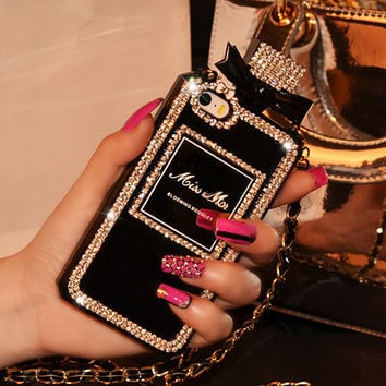 New Diamond Bling Perfume Bottle TPU Case For iphone 6 6s Plus 5 5s 4s for Samsung Galaxy S4 S5 S6 edge Note 3 4 A5 A7 Cover