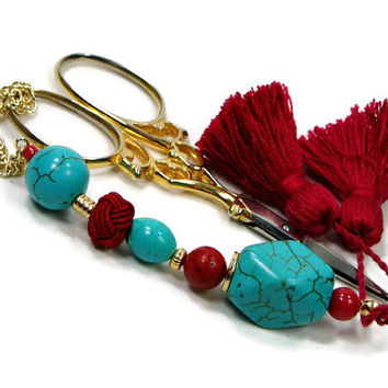 Scissor Fob, Beaded, Turquoise, Red, Craft Accessory, Sewing, Quilting, Cross Stitch, Needlepoint