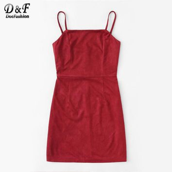 Pocket Front Cord Overall Dress Pink Square Pinafore Sleeveless Autumn Dress Woman Knee Length A Line Dress