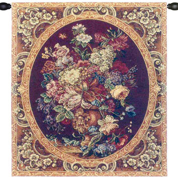 Floral Composition in Vase Burgundy Tapestry Wall Art Hanging