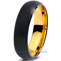6mm 18k Yellow Gold Plated Tungsten Black Dome Cut
