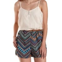 Ivory Combo Crochet & Tribal Print Romper by Charlotte Russe