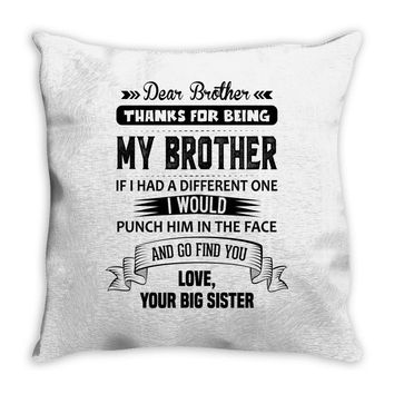 Thanks For Being My Brother, Love, Your Big Sister Throw Pillow