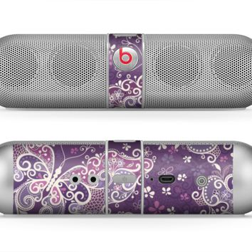 The Purple & White Butterfly Elegance Skin for the Beats by Dre Pill Bluetooth Speaker