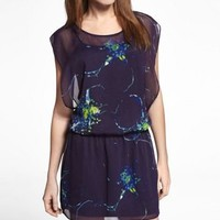 PRINTED CHIFFON DROP ELASTIC WAIST DRESS at Express