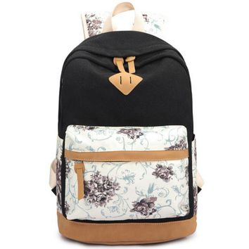 Day-First™ Black Lightweight Canvas Laptop College Backpack Cute School Bag