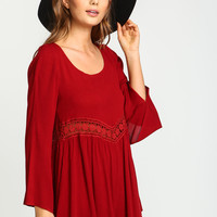 Red Crochet Scoopback Crepe Romper