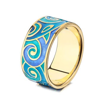leaves ring elvish ring blue ring green ring jewelry enamel jewelry gilded ring green enamel blue enamel ring handmade jewelry gifts for her