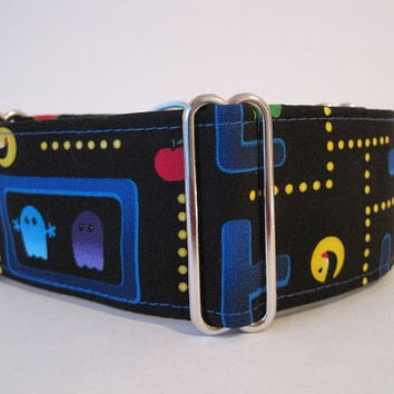 Martingale Dog Collar, Pacman Martingale Collar, 2 Inch Martingale Collar, Pacman Dog Collar, Retro Dog Collar, Novelty, Made in Canada