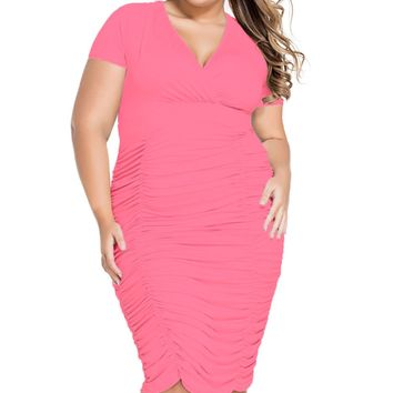 Chicloth Rosy Pleated Curvaceous Midi Dress