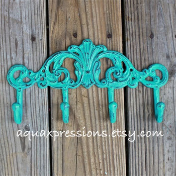 Metal Wall Hook /Laguna Blue /Bright /Shabby Chic Decor /Ornate Hanger /Key Holder /Bathroom Fixture /Bedroom /Nursery