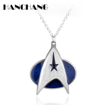 Star Trek Logo Necklace Stainless Necklace for Men Boys Movie Jewelry Link Chain Necklace Collier
