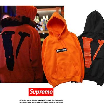 HCXX 19Aug 361 Vlone x Supreme Printting Classic Logo Cotton Hooded Sweater