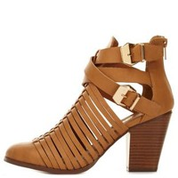 Natural Strappy Belted Cut-Out Chunky Heels by Charlotte Russe