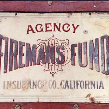 Agency Fireman's Fund Insurance Sign / Antique Fireman's Art Deco Porcelain Sign / Collectible Fire Memorabilia