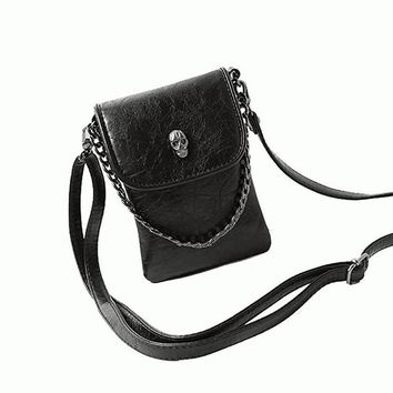 Chain Skull Design Vintage Women Leather Crossbody  bags Handbag Lady Shoulder Cross body Messenger bag purses Sling Phone bags