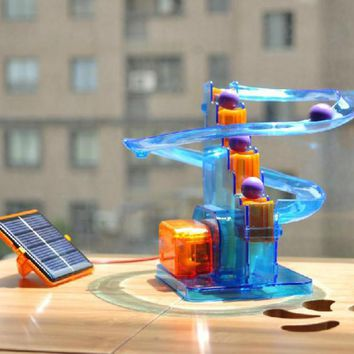 DIY Mini Solar toys for kids boys gift with castle model energy